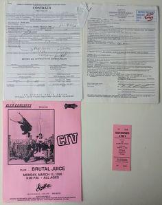 CIV Original Concert Contract Piece Of Music, Concert Tickets, Pittsburgh Pa, See Photo, Graffiti, Juice, The Originals, Artist, Artists