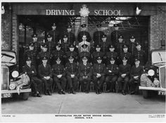 Course Cars are L-R. Humber Super Snipe and Woolsley Notice four civilian instructors which suggests it would not have been an intermediate or advanced course. Police Vehicles, Police Cars, Police Detective, Police Uniforms, Training School, Wwii, Schools, British, Around The Worlds