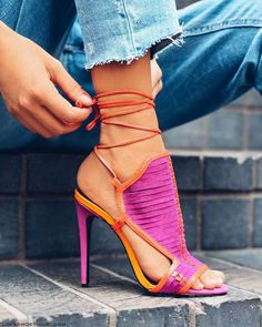 Summer love!! Fuschia and orange leather stiletto ! #stiletto #shoes #womenshoes