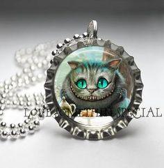 chesire cat bottle cap necklace