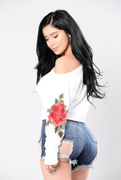 - Available In White - French Terry - 100% Cotton - Asymmetrical Top - Rose Patch - 100% Cotton