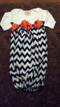 Baby infant newborn Custom design size Boutique layette wholesale gown shower Halloween Chevron Bow coming home first pictures infant girl. $9.50, via Etsy.
