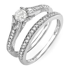 0.60 Carat (ctw) 14k White Gold Round Diamond Ladies Bridal Split Shank Ring Engagement Matching Band Set -- Find out more details by clicking the image : Bridal Sets