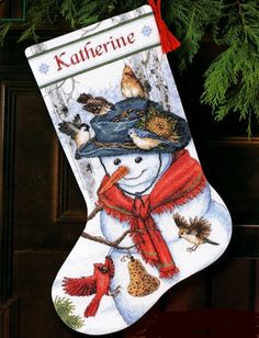 Dimensions Counted #crossstitch  EMMA'S FRIENDS #stocking #christmas #decor