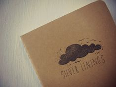 moleskine notebook  silver linings cloud lino by MessyBedStudio, $12.00 #moleskine #notebook #journal