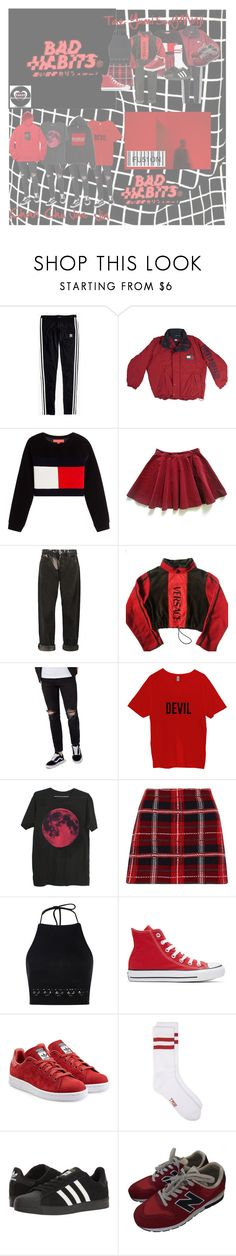 """Preforming Bad Habits at the PKAS"" by fu51on ❤ liked on Polyvore featuring Madewell, Hilfiger Collection, McQ by Alexander McQueen, Versace, Topman, Miu Miu, Boohoo, Converse, adidas Originals and adidas"