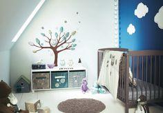 sky-blue-nursery-room-ideas-with-white-cloud-wall-mural-and-dark-baby-nursery