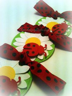 Lady Bug Daisy Black & Red Polka dot Custom Handmade Party Favor gift tags by Chocolatetulipdesign. $4.00, via Etsy.