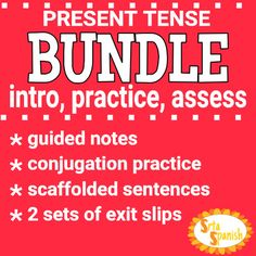 Four pages packed to introduce and practice the conjugations, and two different exit slips for EACH verb set included!Check out this freebie for a great idea of what this Bundle includes!INCLUDED:Tener - Intro, Practice AssessIR- Intro, Practice AssessSER- Intro, Practice AssessAR Verbs- Intro, Practice AssessER/IR Verbs- Intro, Practice AssessIR + A + Infinitive- Intro, Practice AssessEstar - Intro, Practice, AssessHow to get TPT credit to use on future purchases: Please go to your My…
