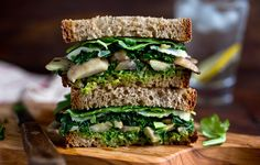 Mushroom Melt With Parsley Pesto, Kale and Arugula: View this and hundreds of other vegetarian recipes in the New York Times Eat Well Recipe Finder. Arugula Recipes, Basil Recipes, Garlic Recipes, Pesto Recipe, Herb Recipes, Parsley Pesto, Sandwiches, Vegetarian Recipes, Healthy Recipes