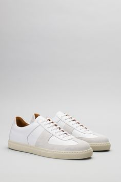 066 Allumino Suede / Bianco Calf — Sweyd Footwear Rock The Casbah, Lace Making, Embossed Logo, Wardrobe Staples, Calf Leather, Calves, Trainers, How To Look Better, Adidas Sneakers