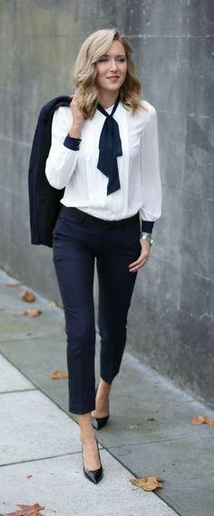 Navy tuxedo pants and jacket + tie neck blouse @tommyhilfiger #tommyhilfiger #spon