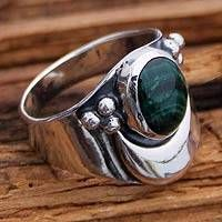 Sterling Silver Cocktail Malachite Ring