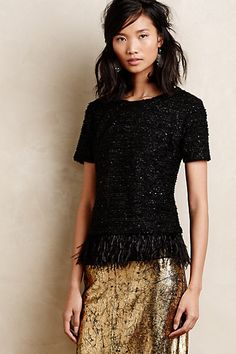 Feathered Boucle Top - anthropologie.com