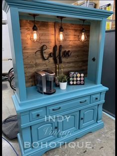 Refurbished Furniture, Repurposed Furniture, Furniture Makeover, Painted Furniture, Diy Furniture, Coffee Nook, Coffee Bar Home, Coffee Bar Ideas, Coffee Bars