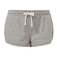 Grey Runner Shorts (103.450 IDR) ❤ liked on Polyvore featuring shorts, bottoms, pants, pajamas, grey, gray shorts, grey shorts, mini shorts and cotton shorts