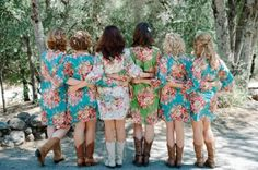 6 Kimono Crossover Robes Spa Wrap Perfect bridesmaids gift, getting ready robes, Bridal shower party favors, Wedding photo prop. $210.00, via Etsy.