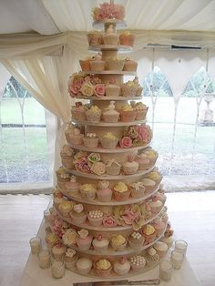 Vintage cupcake wedding tower...
