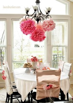 rustic princess party door decor | love how the chairs are decorated and of course i love those pompoms