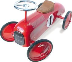 Vilac Red Ride On Classic Car #oliverthomas #vilac #vilactoys #rideoncar #classic #classiccar #kidsroom #nursery #kidstoys
