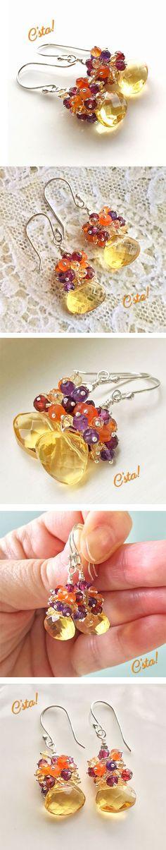 Citrine Quartz Multi Gemstone Cluster Earrings