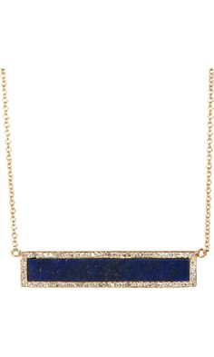 Jennifer Meyer Diamond & Lapis Bar Pendant Necklace