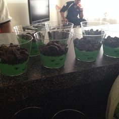 Hulk Pudding Cups! Green food coloring, vanilla pudding, oreo crumbs, clear cups, and a sharpie!