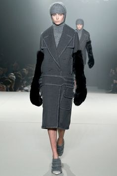 """""""Fur mittens up to the elbow were inspired by boxers."""" Alexander Wang Fall 2013 RTW"""