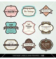 Vintage labels and frames vector by kraphix on VectorStock®