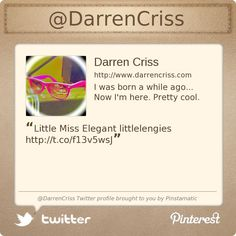 @DarrenCriss's Twitter profile courtesy of @Pinstamatic (http://pinstamatic.com)