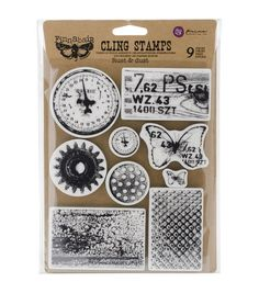 Add inked impressions to various craft surfaces with the Prima Marketing Finnabair Cling Stamps. This pack comes with nine cling rubber stamps. Use these stamps on greeting cards, scrapbook projects,