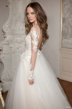 berta bridal fall 2015 illusion long sleeve wedding dress full a line silhouette lace applique bodice side view