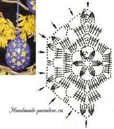 easter egg - Her Crochet Holiday Crochet Patterns, Crochet Snowflake Pattern, Crochet Snowflakes, Crochet Motif, Easter Projects, Easter Crafts, Crochet Stone, Crochet Ornaments, Thread Crochet