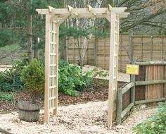 Flat Top Arch - If you want to add a touch of warm feeling to your garden, take a look at this functional, quality arch. Garden Fencing, Fence, Garden Arches, Vow Renewal Ceremony, Arbour, Wakefield, Wedding Vows, Garden Furniture, Pergola