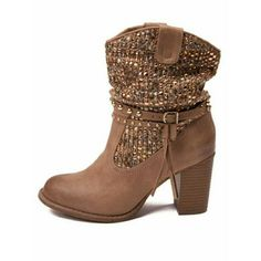 """Thumbs Up booties New in the box, you'll adore the bold and modern design of the Not Rated? Thumbs Up boot. Features a pull-on construction, dual pull-tabs for easy wear, and studded detail along shaft.   Heel height: 3""""; 13"""" shaft circumference; 8 1/2"""" shaft; 14 oz weight   Brand: Not Rated  Fiber Content: textile upper, synthetic leather footbed Shoes Ankle Boots & Booties"""