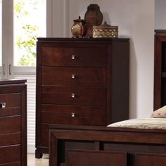 Picket House Furnishings London 5 Drawer Chest - Warm Cherry