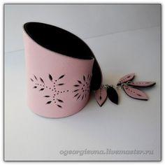 Браслеты ручной работы. Ярмарка Мастеров - ручная работа Розовый кожаный браслет -125. Handmade.
