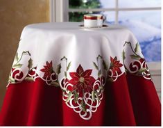 Collections Etc Embroidered Christmas Poinsettia Table Linens, Square Christmas Table Cloth, Indoor Christmas Decorations, Table Decorations, Elegant Christmas, Christmas Home, Christmas Holidays, Winter Holiday, Poinsettia Flower, Christmas Poinsettia