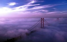 Lisbon - mist and clouds over the Tagus river #Portugal