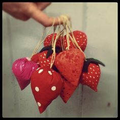 strawberry pin cushions by Remade in Edinburgh Yarn Bombing, Pin Cushions, Edinburgh, Strawberry, Crafty, Christmas Ornaments, Holiday Decor, Creative, Fun