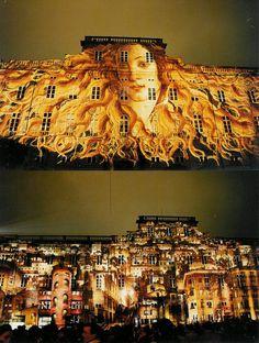 Light show of Lyon museum of art