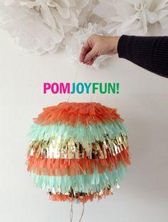 Gender Reveal Fringe Piñata | Multi Colored  Birthday Piñata | Baby Shower Piñata | Fringe Wedding Pinata | Round Pinata by PomJoyFun on Etsy