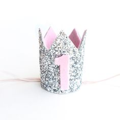 Miniature 1st birthday crown headband- pink and silver baby/ girl birthday crown- pick any number by Kichiqueen on Etsy https://www.etsy.com/listing/223582746/miniature-1st-birthday-crown-headband