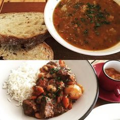 Warm Autumn dishes from our lunch menu. Sausage & Bean Soup and a delicious Irish Beef Stew served with Rice and Apricot Chutney.  #autumnlunch #warmautumnfood #soupforlunch #overberg #hermanus #eateryhermanus