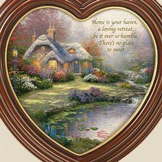 "Thomas Kinkade ""Home Is Where The Heart Is"" Framed Canvas Print Wall Decor"