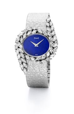 #Jewelry #watch in white gold set with 44 marquise-cut #diamonds and Lapis Lazuli dial. #Vintage from 1977