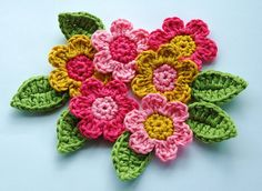 Crochet Flowers and Leaves by AnnieDesign, via Flickr