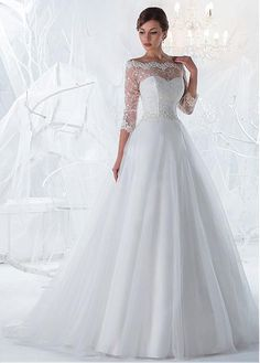 Marvelous Lace & Tulle Off-the-Shoulder Neckline A-line Wedding Dresses with Beaded Lace Appliques