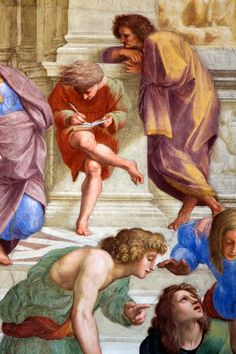 Philosophical studies  23.4.2011: unidentified figures  from The School of Athens by Raphael 1510-1511, Sala di Segnatura, Stanze di Raffaello, Musei Vaticani, Rome