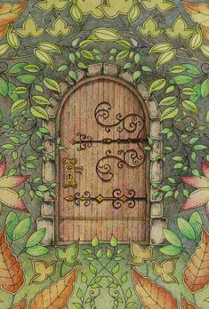 Center door. Secret Garden. Porta central. Jardim Secreto. Johanna Basford